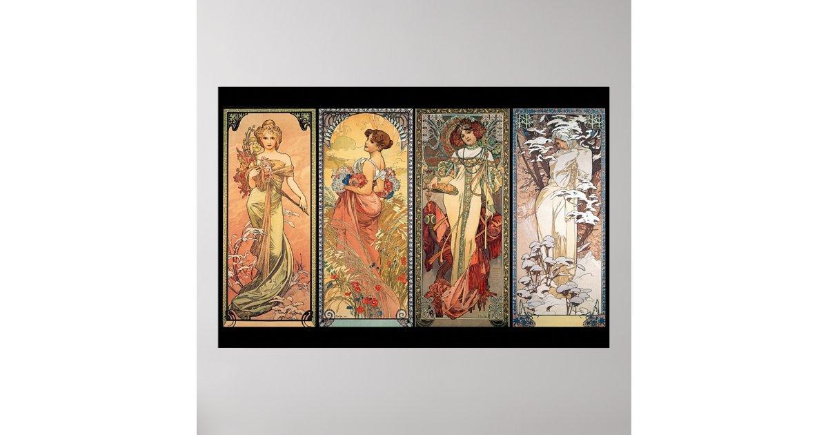 Alphonse Mucha Four Seasons Poster | Zazzle.com