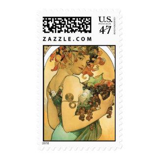 Alphonse Mucha ~ Fruit ( 1897 ) Art Nouveau stamps