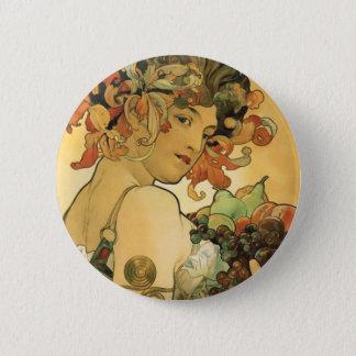 Alphonse Mucha ~ Fruit. 1897 Pinback Button