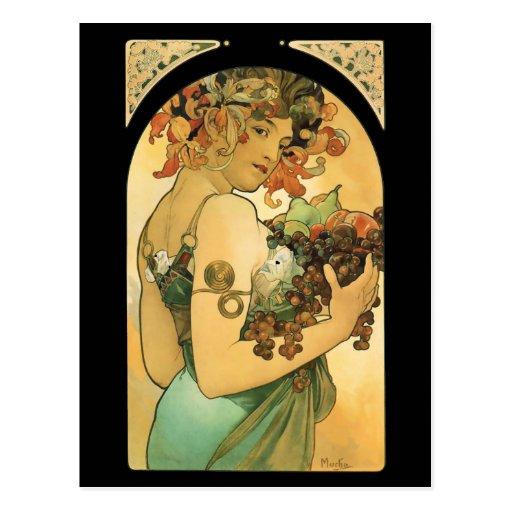 Alphonse Mucha ~ Fruit ( 1897 ) Postcard