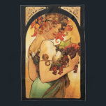 "Alphonse Mucha Fruit Kitchen Towel<br><div class=""desc"">Alphonse Mucha Fruit kitchen towel. Lithograph poster from 1897. Czech artist Alphonse Mucha painted a variety of different allegories throughout his career. Fruit depicts a beautiful woman holding an armful of purple grapes, green pears, figs and red apples. The woman's dark hair is adorned with flowers and leaves, and she...</div>"