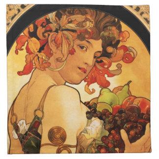Alphonse Mucha Fruit Napkins