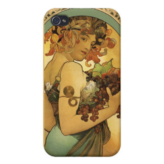 Alphonse Mucha Fruit Painting Cover For iPhone 4