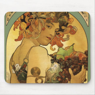 Alphonse Mucha Fruit Painting Mouse Pad