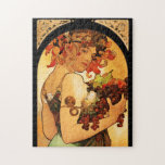 """Alphonse Mucha Fruit Puzzle<br><div class=""""desc"""">Alphonse Mucha Fruit puzzle. Lithograph poster from 1897. Czech artist Alphonse Mucha painted a variety of different allegories throughout his career. Fruit depicts a beautiful woman holding an armful of purple grapes, green pears, figs and red apples. The woman's dark hair is adorned with flowers and leaves, and she wears...</div>"""