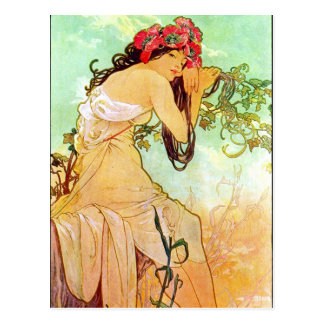 Alphonse Mucha Girl By The Pond Postcard