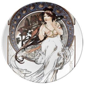 Alphonse Mucha girl Porcelain Plate