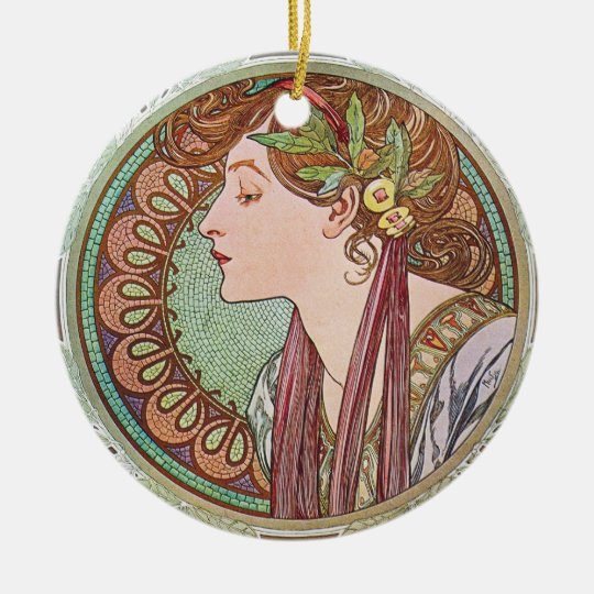 Alphonse Mucha Goddess Art Ceramic Ornament