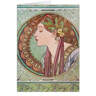 Alphonse Mucha Goddess Art Greeting Card