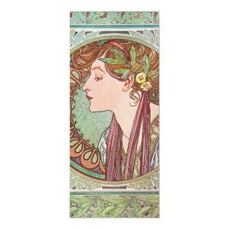 "Alphonse Mucha Goddess Art 4"" X 9.25"" Invitation Card"