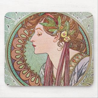 Alphonse Mucha Goddess Art Mouse Pad