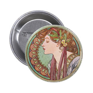 Alphonse Mucha Goddess Art Pinback Button