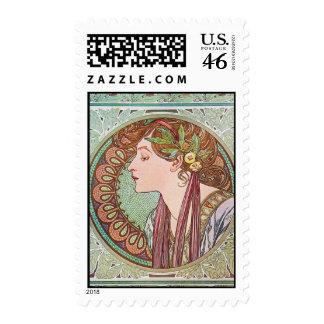 Alphonse Mucha Goddess Art Postage Stamps