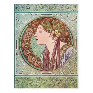 Alphonse Mucha Goddess Art Postcard