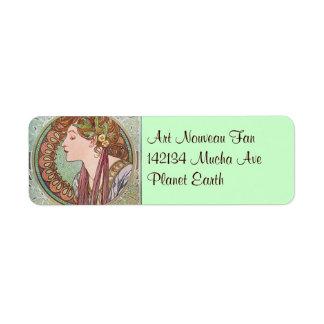 Alphonse Mucha Goddess Art Return Address Label