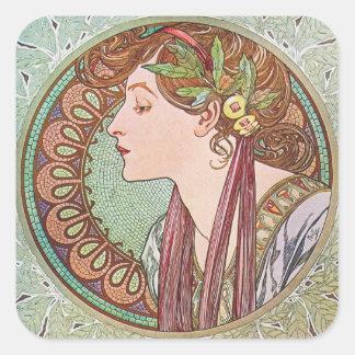 Alphonse Mucha Goddess Art Square Sticker
