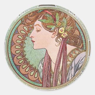 Alphonse Mucha Goddess Art Sticker