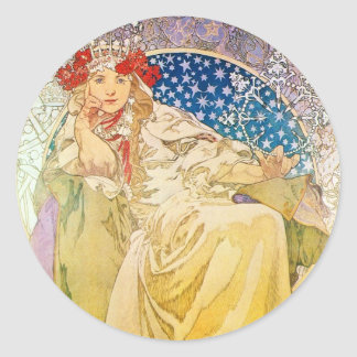 Alphonse Mucha Goddess Classic Round Sticker