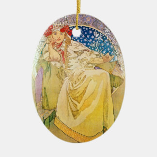 Alphonse Mucha Goddess Double-Sided Oval Ceramic Christmas Ornament