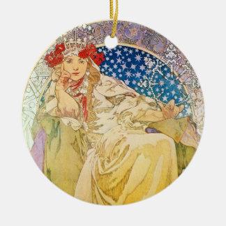 Alphonse Mucha Goddess Double-Sided Ceramic Round Christmas Ornament
