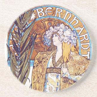 Alphonse Mucha Goddess Sandstone Coaster