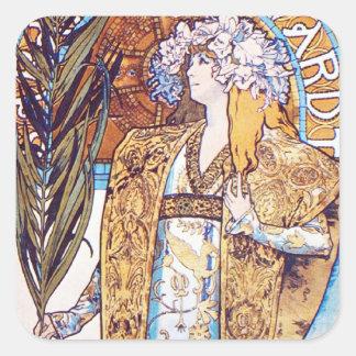 Alphonse Mucha Goddess Square Sticker