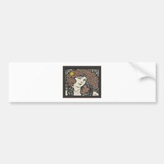 Alphonse Mucha Illustration Car Bumper Sticker