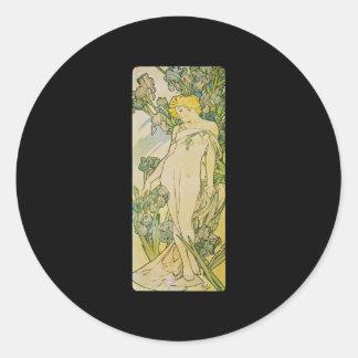 Alphonse Mucha Iris Classic Round Sticker