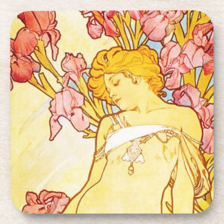 Alphonse Mucha Iris Coasters