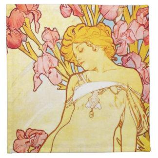 Alphonse Mucha Iris Napkins