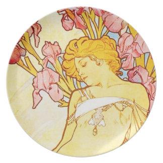 Alphonse Mucha Iris Plate