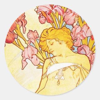 Alphonse Mucha Iris Stickers