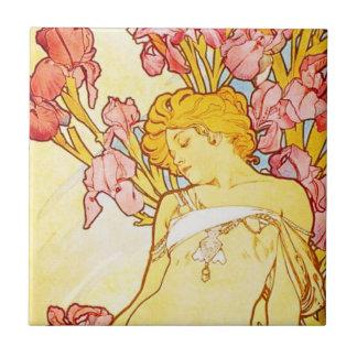Alphonse Mucha Iris Tile