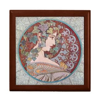 Alphonse Mucha Ivy Art Nouveau Art Tile Gift Box