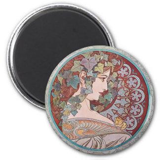 Alphonse Mucha Ivy Art Nouveau Fridge Magnet