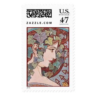 Alphonse Mucha Ivy Art Nouveau Postage Stamps Lg