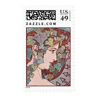 Alphonse Mucha Ivy Art Nouveau Postage Stamps Med