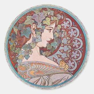 Alphonse Mucha Ivy Art Nouveau Stickers