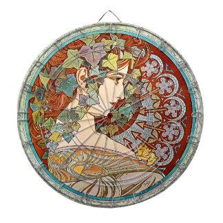 Alphonse Mucha Ivy Dartboard With Darts