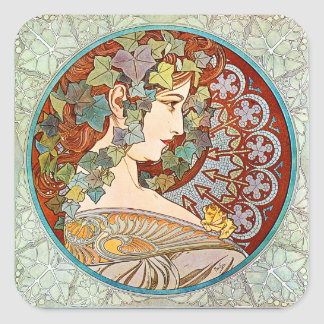 Alphonse Mucha Ivy Square Sticker