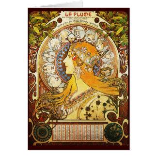 Alphonse Mucha La Plume Card