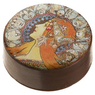 Alphonse Mucha La Plume Chocolate Dipped Oreo