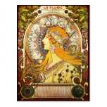 Alphonse Mucha La Plume Postcard