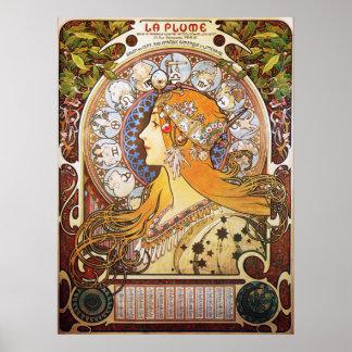 Alphonse Mucha. La Plume/Zodiac, 1896. Print
