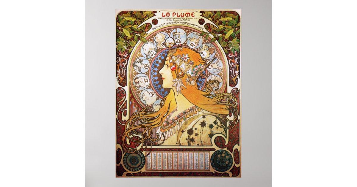Alphonse Mucha La Plume Zodiac 1896 Poster Zazzle Com