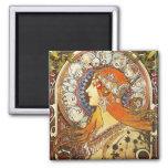 Alphonse Mucha La Plume Zodiac Art Nouveau Vintage 2 Inch Square Magnet