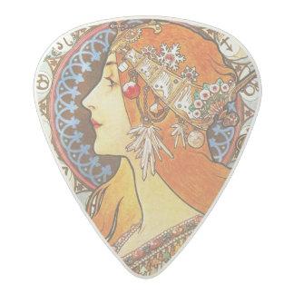 Alphonse Mucha La Plume Zodiac Art Nouveau Vintage Acetal Guitar Pick