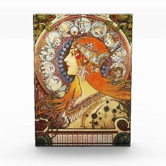 Alphonse Mucha La Plume Zodiac Art Nouveau Vintage Acrylic Award