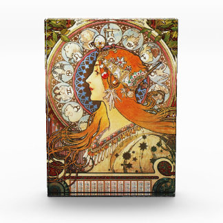 Alphonse Mucha La Plume Zodiac Art Nouveau Vintage Awards