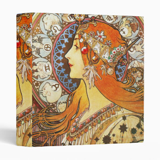 Alphonse Mucha La Plume Zodiac Art Nouveau Vintage Binder